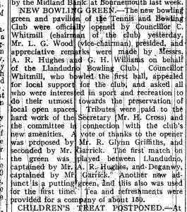 bowls history May 20th 1931