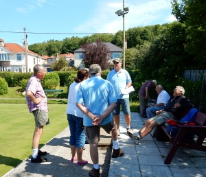 arrival at Dyserth Bowling Club prior to Final